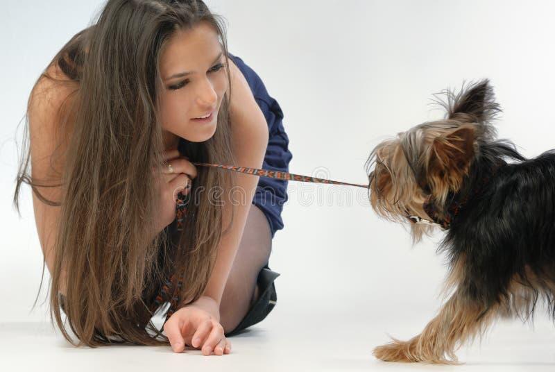 Menina e cão imagem de stock royalty free