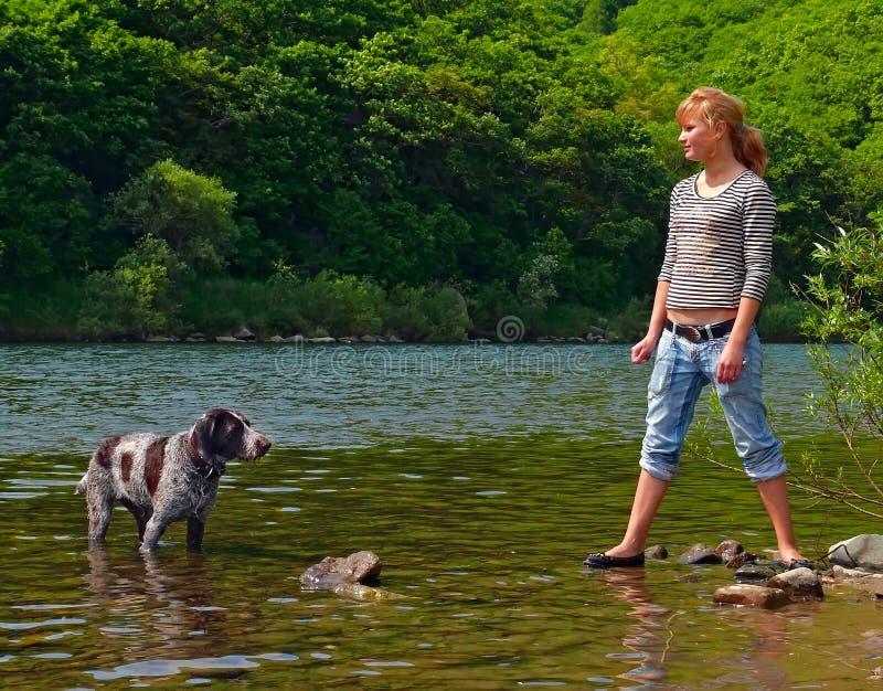 Menina e cão 4 fotos de stock