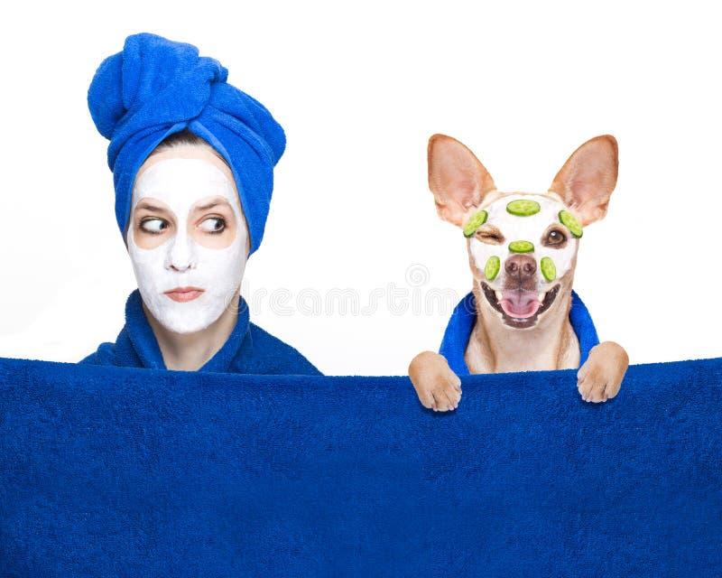 Menina e cão da máscara da beleza do bem-estar imagens de stock