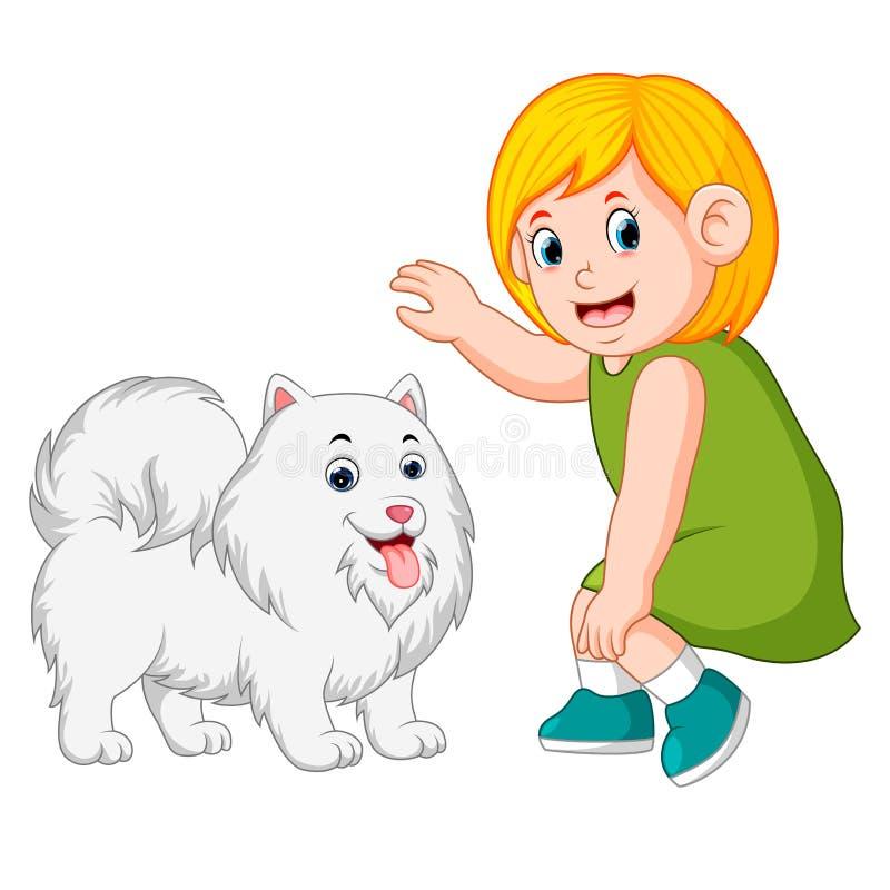 Menina e cão do tipo ilustração do vetor