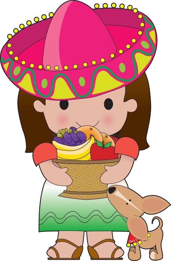 Menina e cão mexicanos ilustração stock