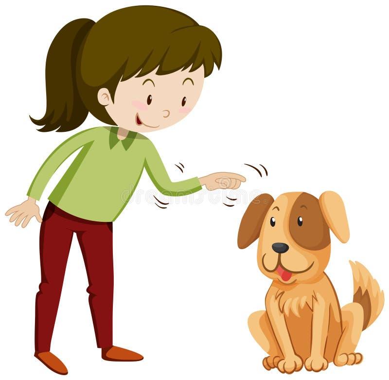 Menina e cachorrinho com cara feliz ilustração do vetor