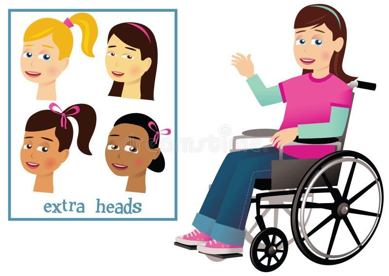 Menina e cadeira de rodas ilustração royalty free