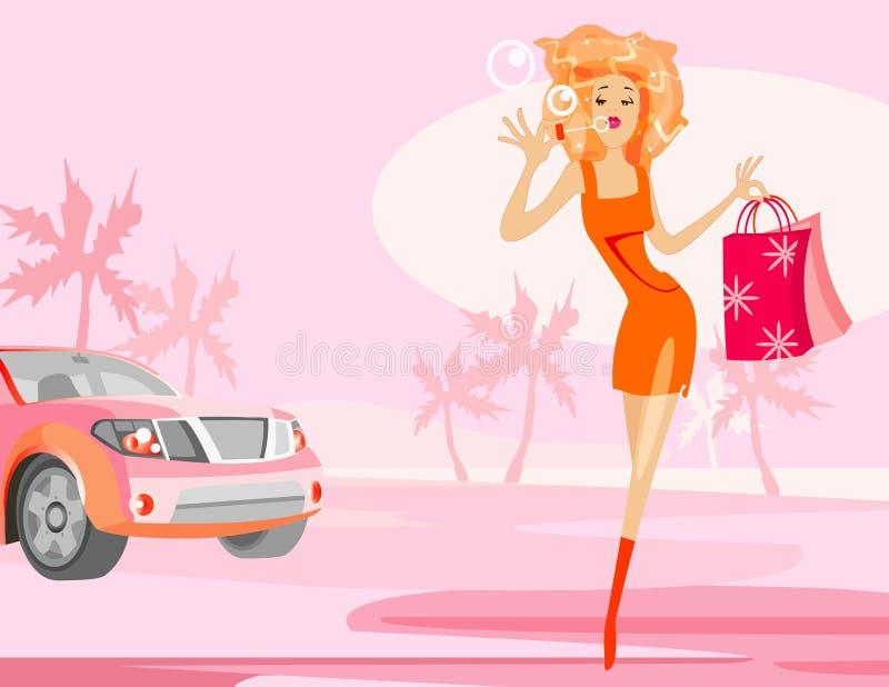 Menina e carro ilustração stock