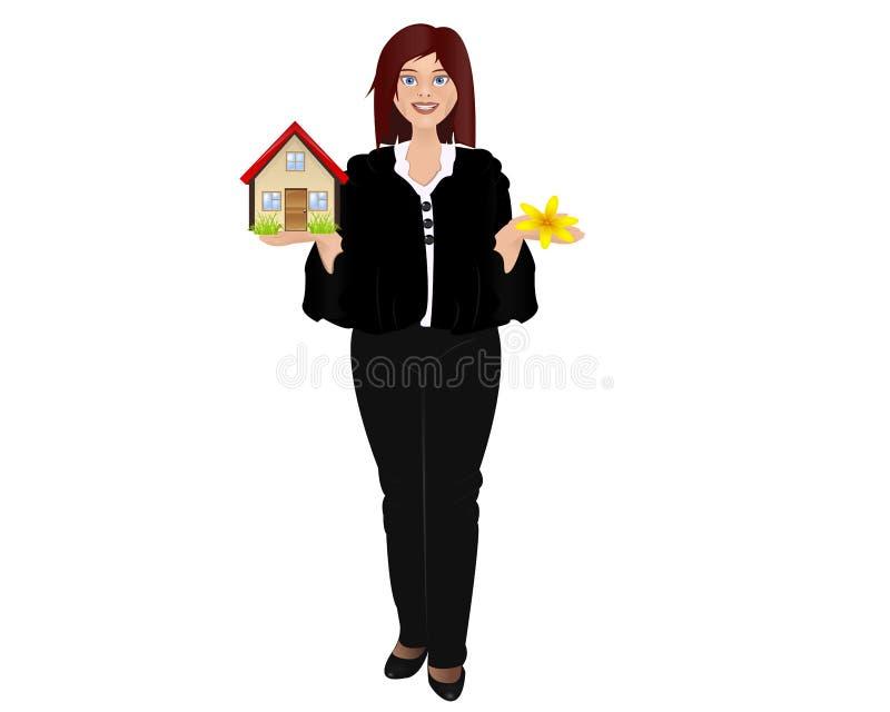 Menina e casa ilustração do vetor