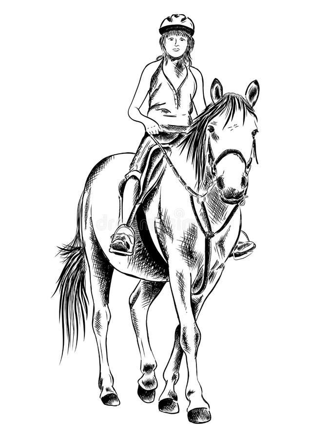 Menina e cavalo ilustração royalty free