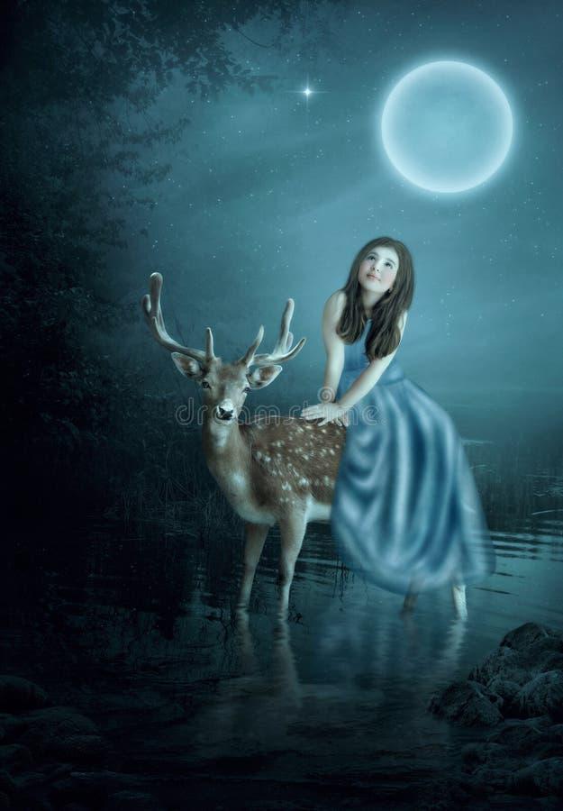 Menina e cervos fotografia de stock royalty free