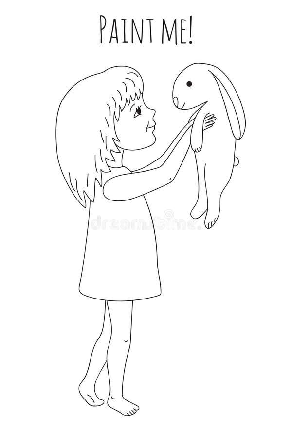 Menina e coelho da coloração ilustração stock