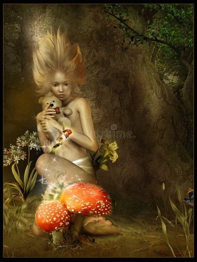 Menina e cogumelos venenosos ilustração do vetor