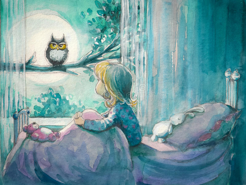Menina e coruja ilustração stock