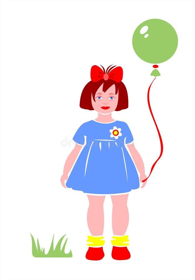 Menina e esfera ilustração royalty free