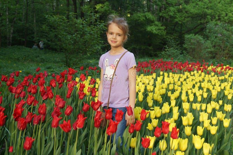 Menina e fiowers imagens de stock royalty free