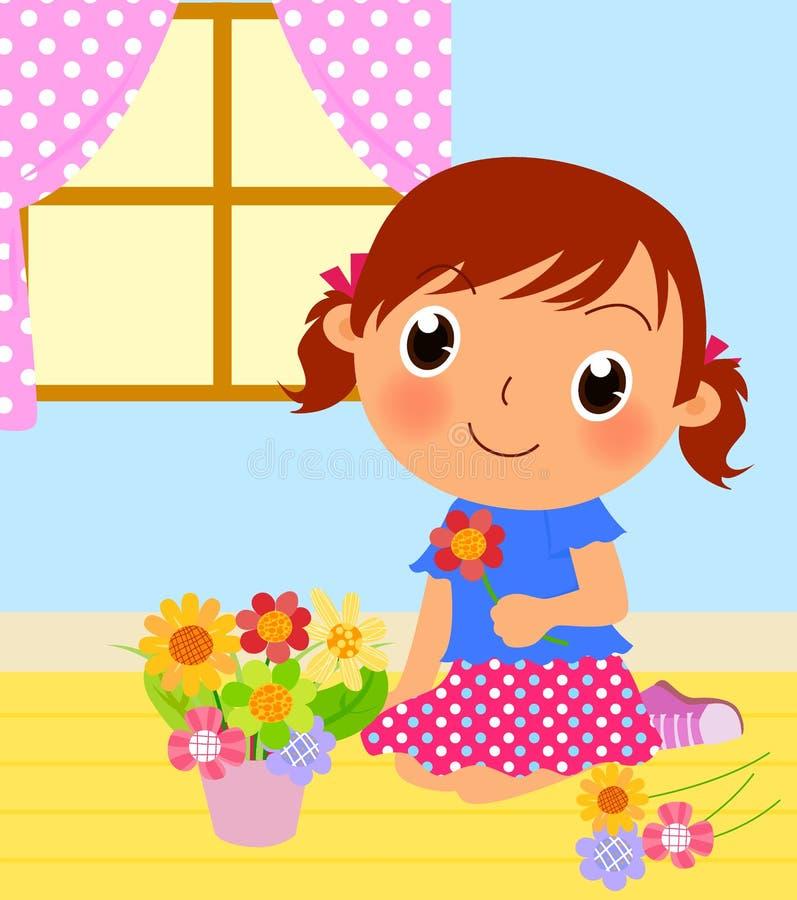 Menina e flor ilustração do vetor