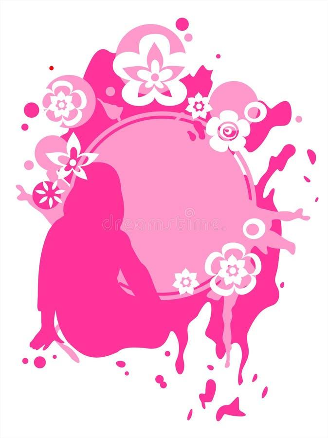 Menina e frame cor-de-rosa ilustração royalty free