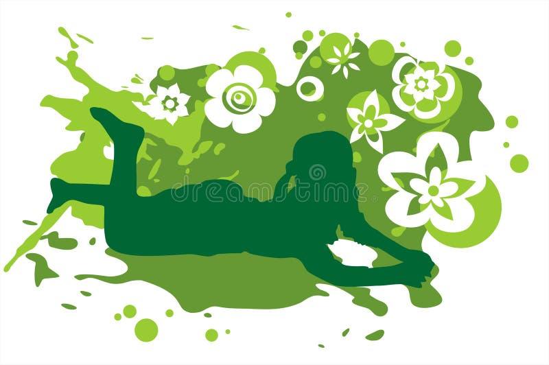 Menina e fundo verde ilustração do vetor