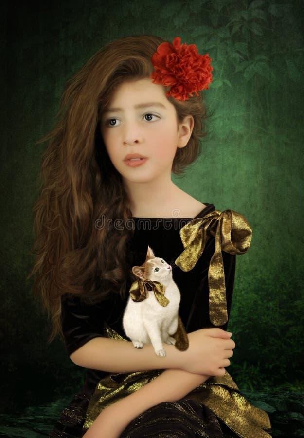 Menina e gatinho foto de stock