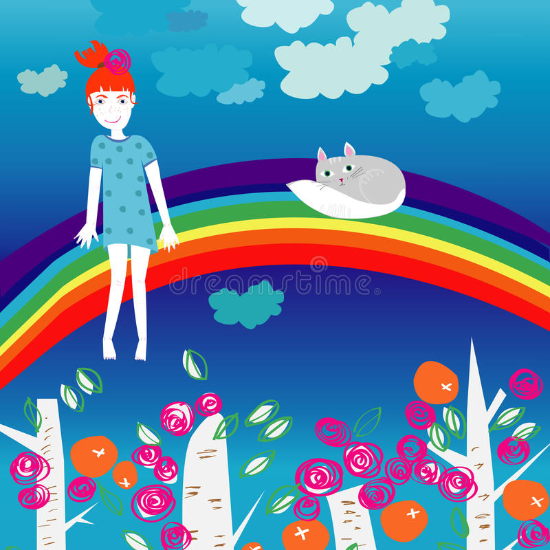 Menina e gatinho em um arco-íris foto de stock royalty free