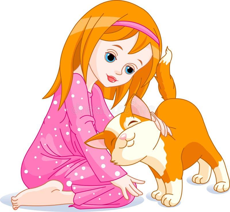 Menina e gato ilustração royalty free
