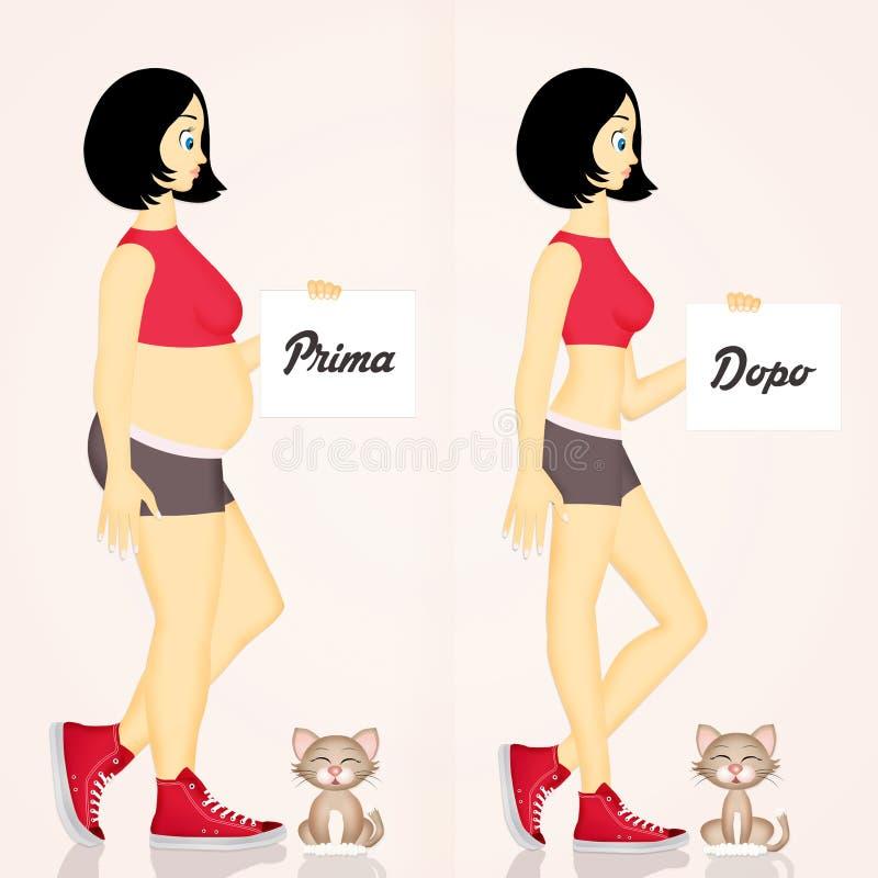 Menina e gato antes e depois da dieta ilustração royalty free