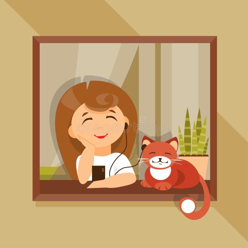 Menina e gato nos fones de ouvido Ilustração do vetor ilustração royalty free