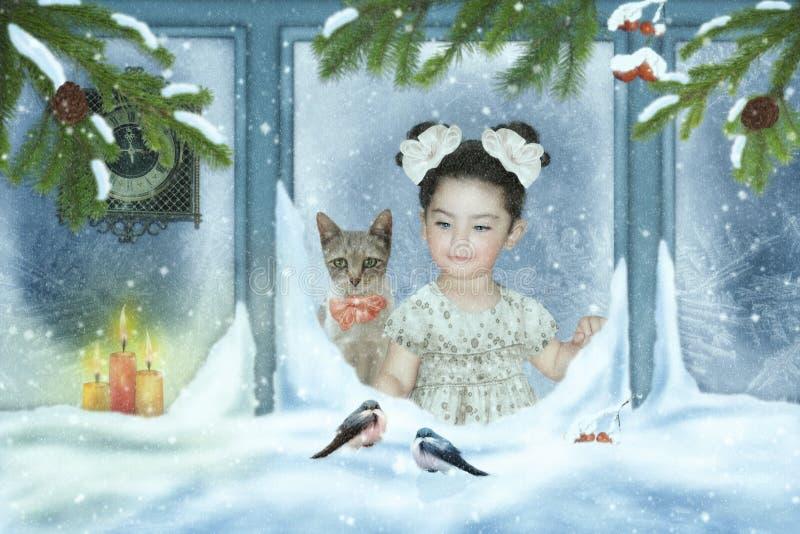 Menina e gato que olham para fora a janela imagem de stock