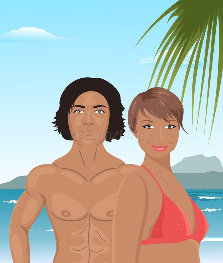Menina e homem 'sexy' na praia ilustração do vetor