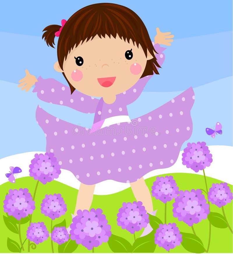 Menina e hydrangeas ilustração stock