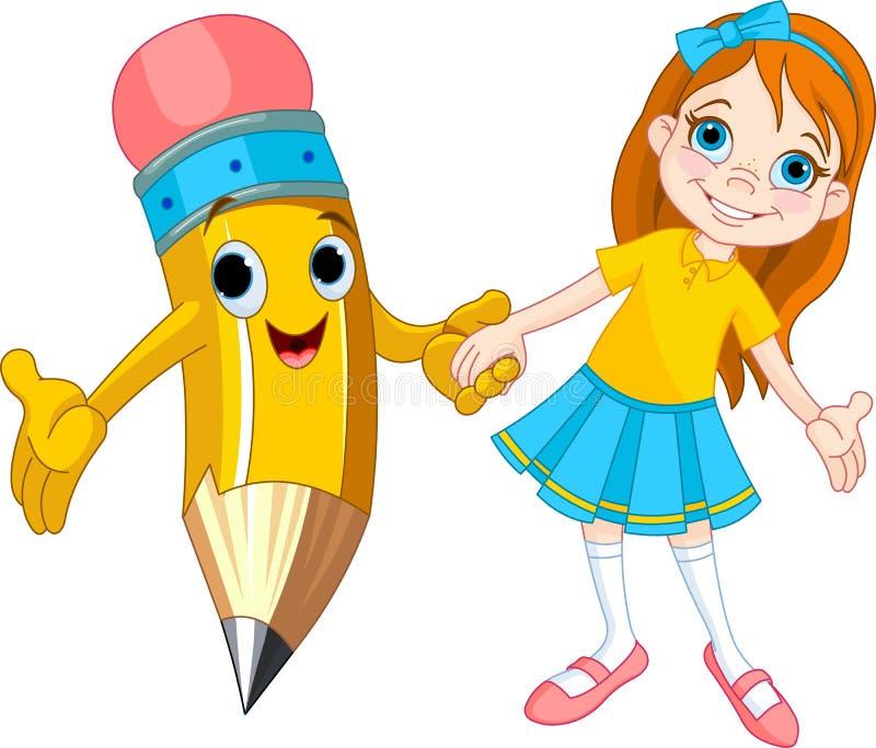 Menina e lápis ilustração royalty free
