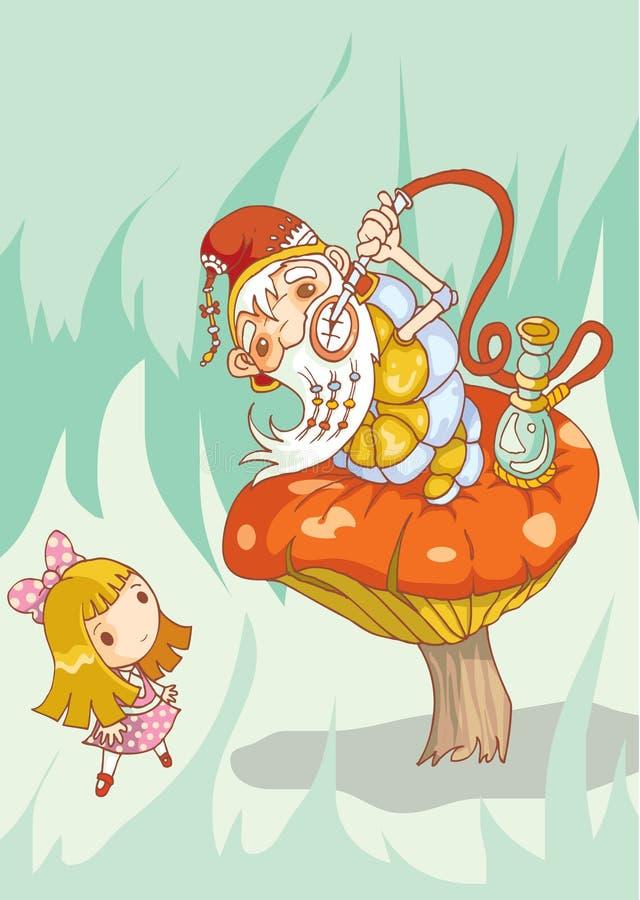 Menina e lagarta velha ilustração royalty free