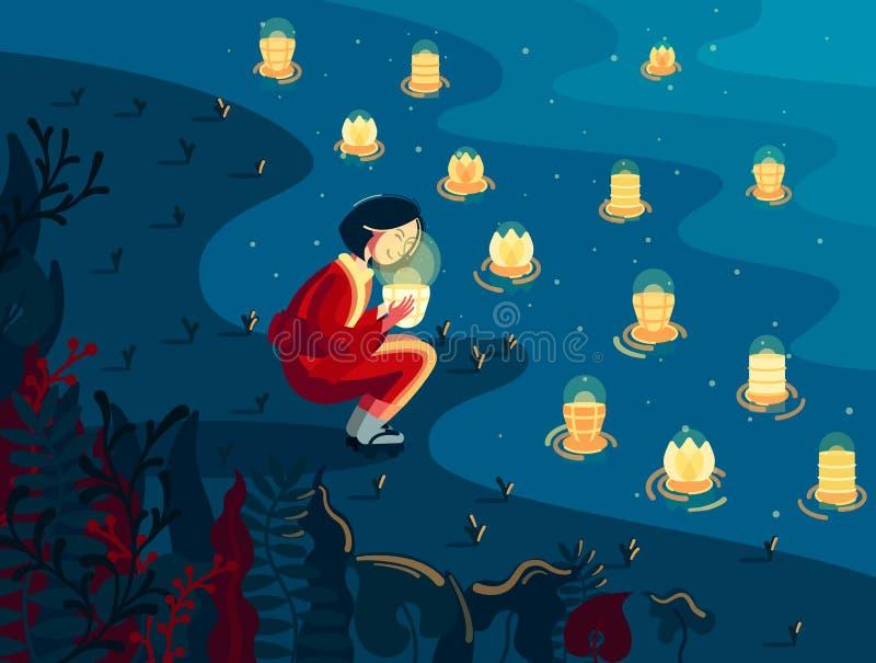 Menina e lanterna japonesas ilustração stock