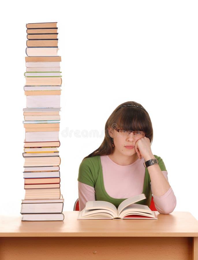 Menina e livros imagens de stock