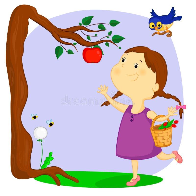 A menina e a maçã ilustração do vetor