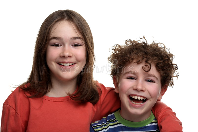 Menina e menino foto de stock