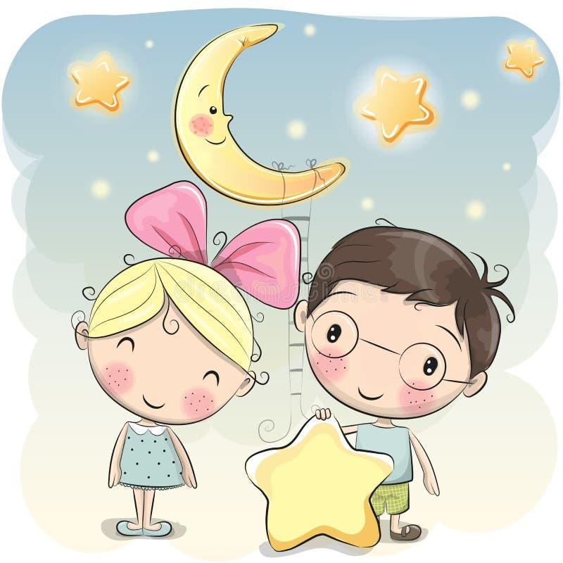 Menina e menino com uma estrela ilustração royalty free