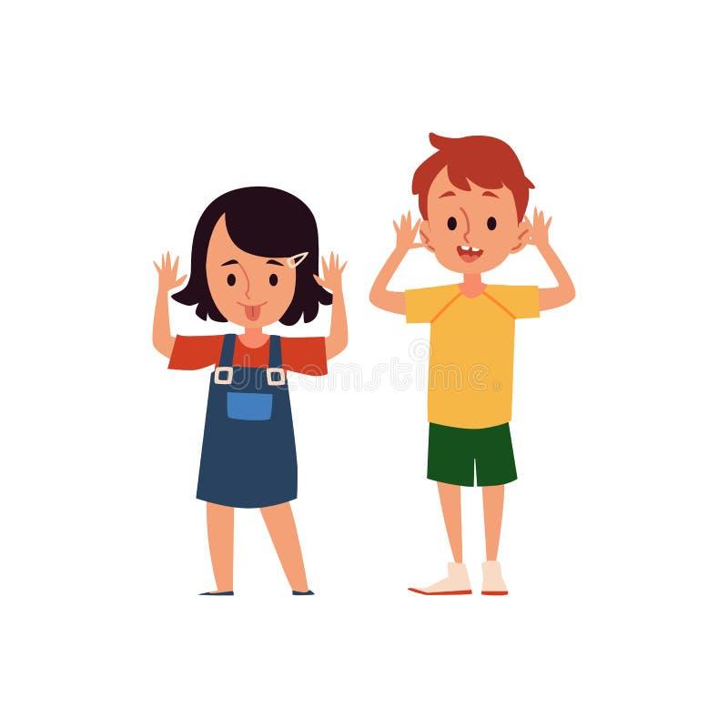 Menina e menino dos desenhos animados com expressão facial trocista e taunting ilustração royalty free