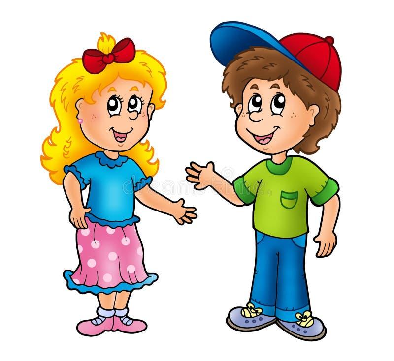 Menina e menino felizes dos desenhos animados
