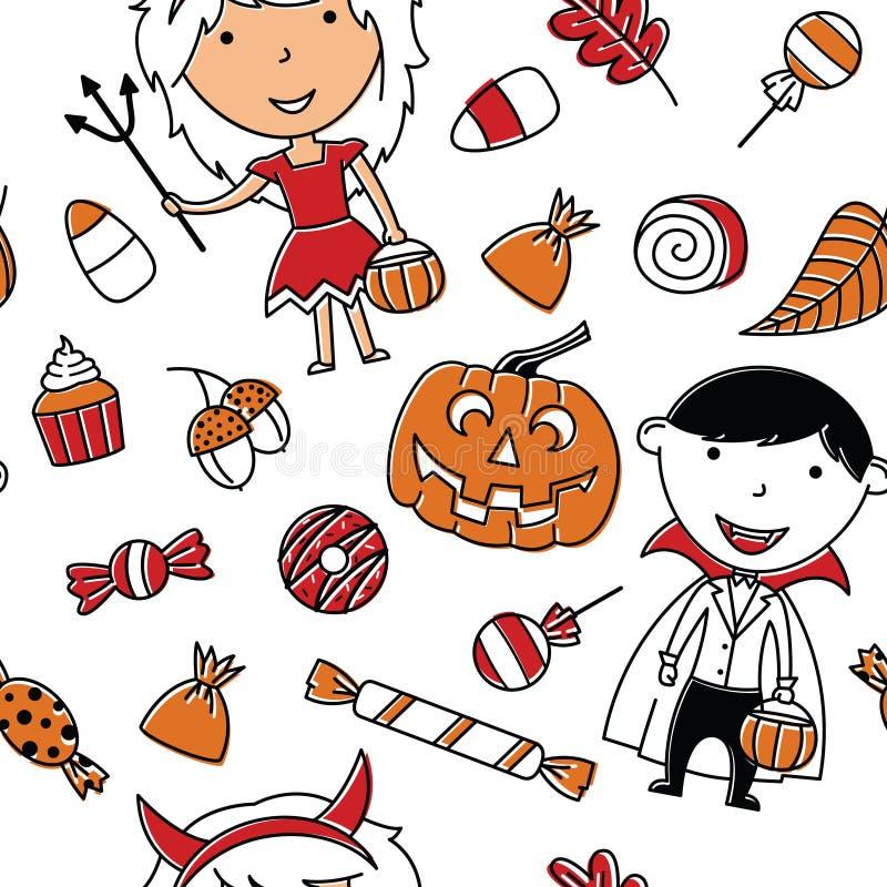 Menina e menino felizes em trajes de Dia das Bruxas com pa sem emenda dos doces ilustração royalty free