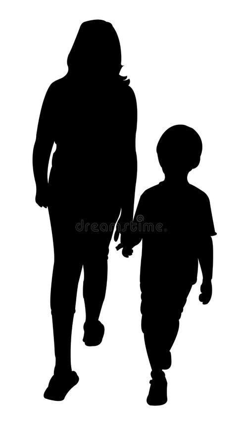 Menina e menino que andam, vetor da silhueta ilustração royalty free
