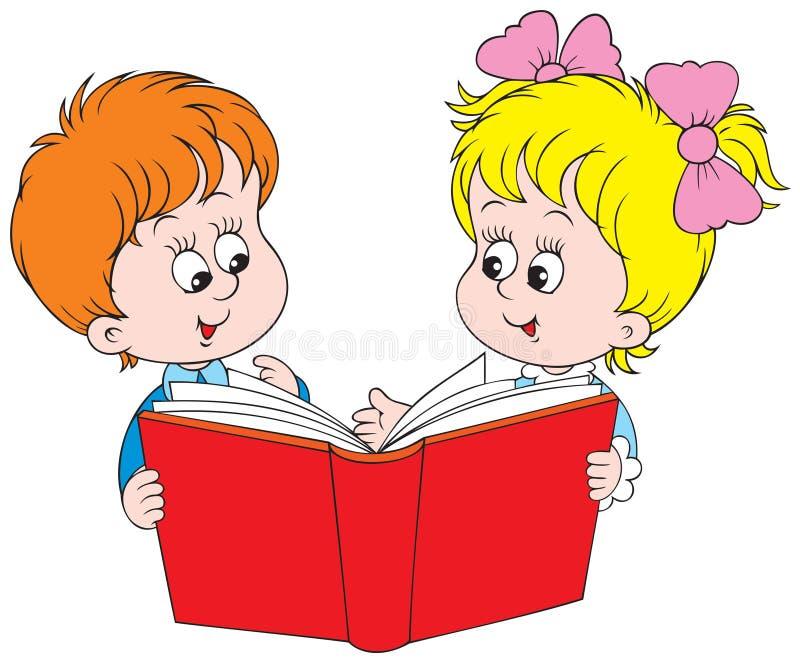 Menina e menino que lêem o livro vermelho ilustração do vetor