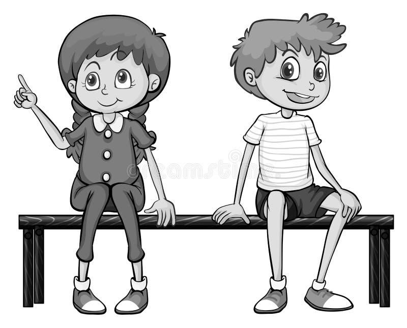 Menina e menino que sentam-se em um banco ilustração stock