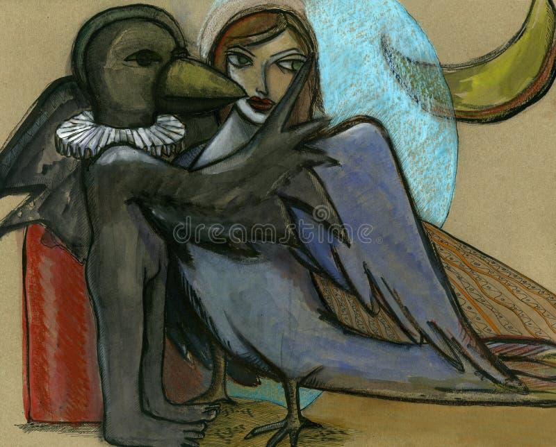 Menina e morte ilustração stock