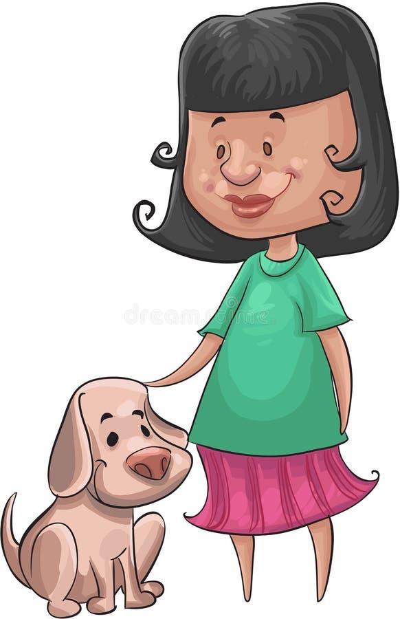 Menina e o cão ilustração stock