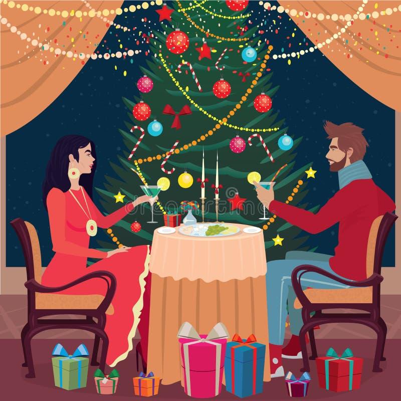 A menina e o indivíduo brindam vidros na Noite de Natal ilustração do vetor