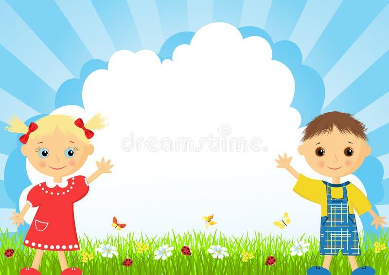 A menina e o menino em um prado. ilustração stock