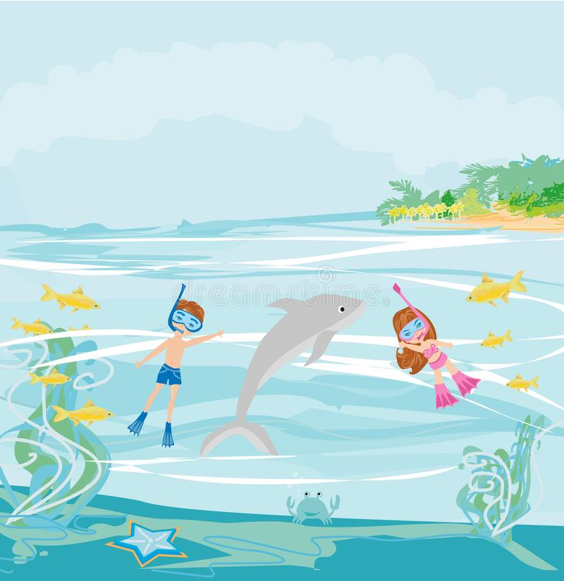 A menina e o menino estão mergulhando com um golfinho ilustração royalty free