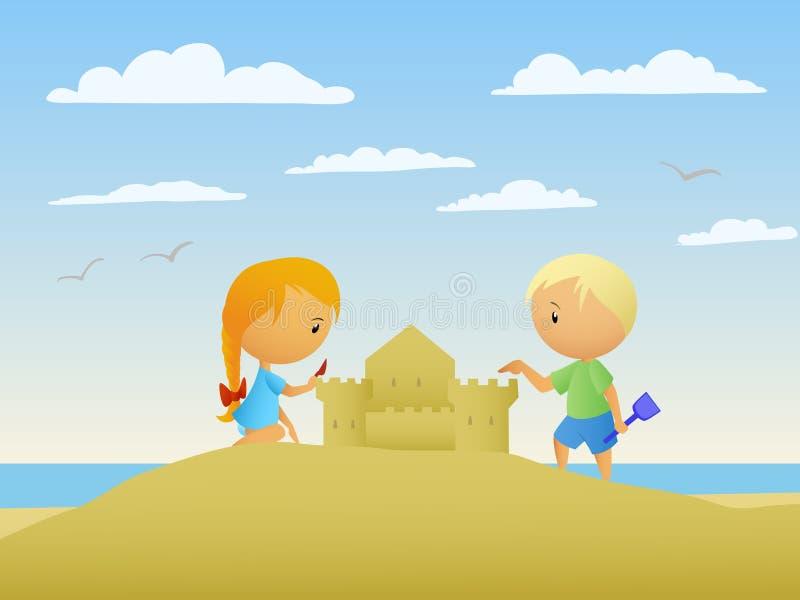 A menina e o menino fazem um castelo da areia ilustração stock