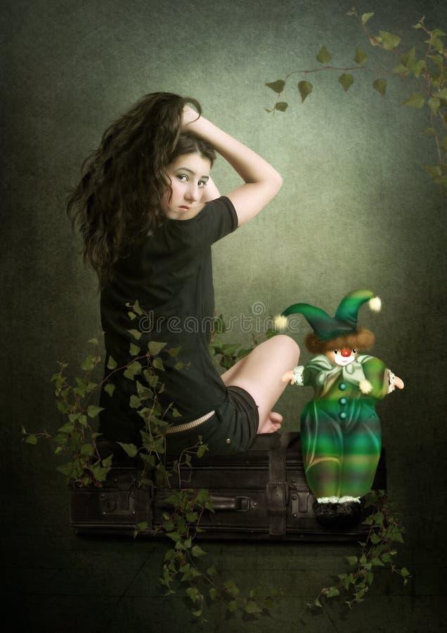 A menina e o palhaço ilustração do vetor