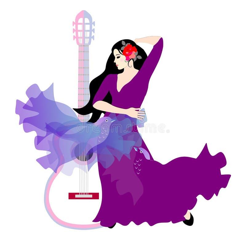 A menina e os p?ssaros Dançarino espanhol do flamenco com guitarra e um xaile pássaro-dado forma isolado no fundo branco ilustração do vetor