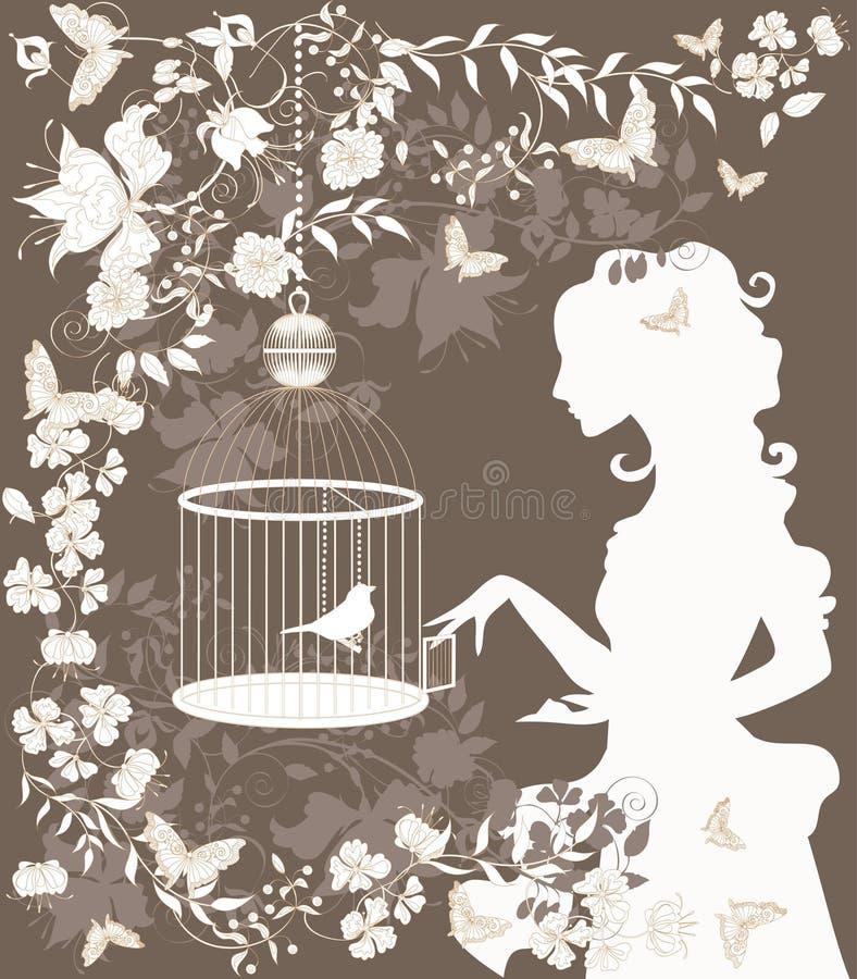 Menina e pássaro do vintage ilustração stock