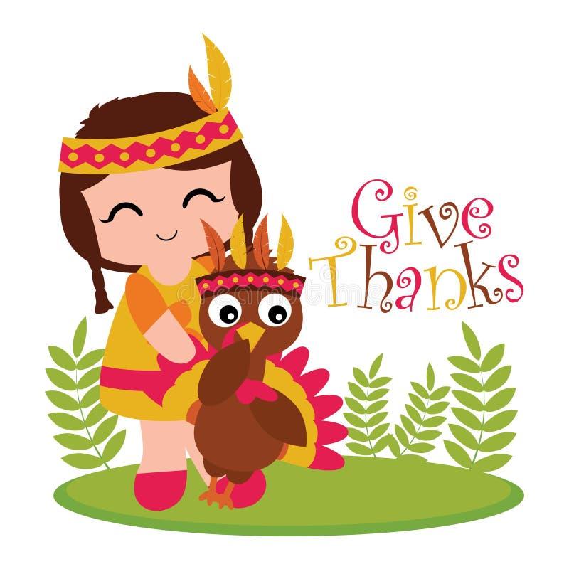 Menina e peru indianos no jardim ilustração stock